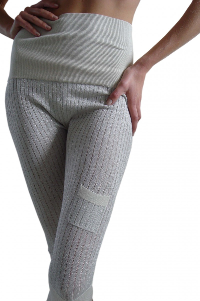 3/4 Length Ribbed Leggings with Lurex in Silk/Cashmere