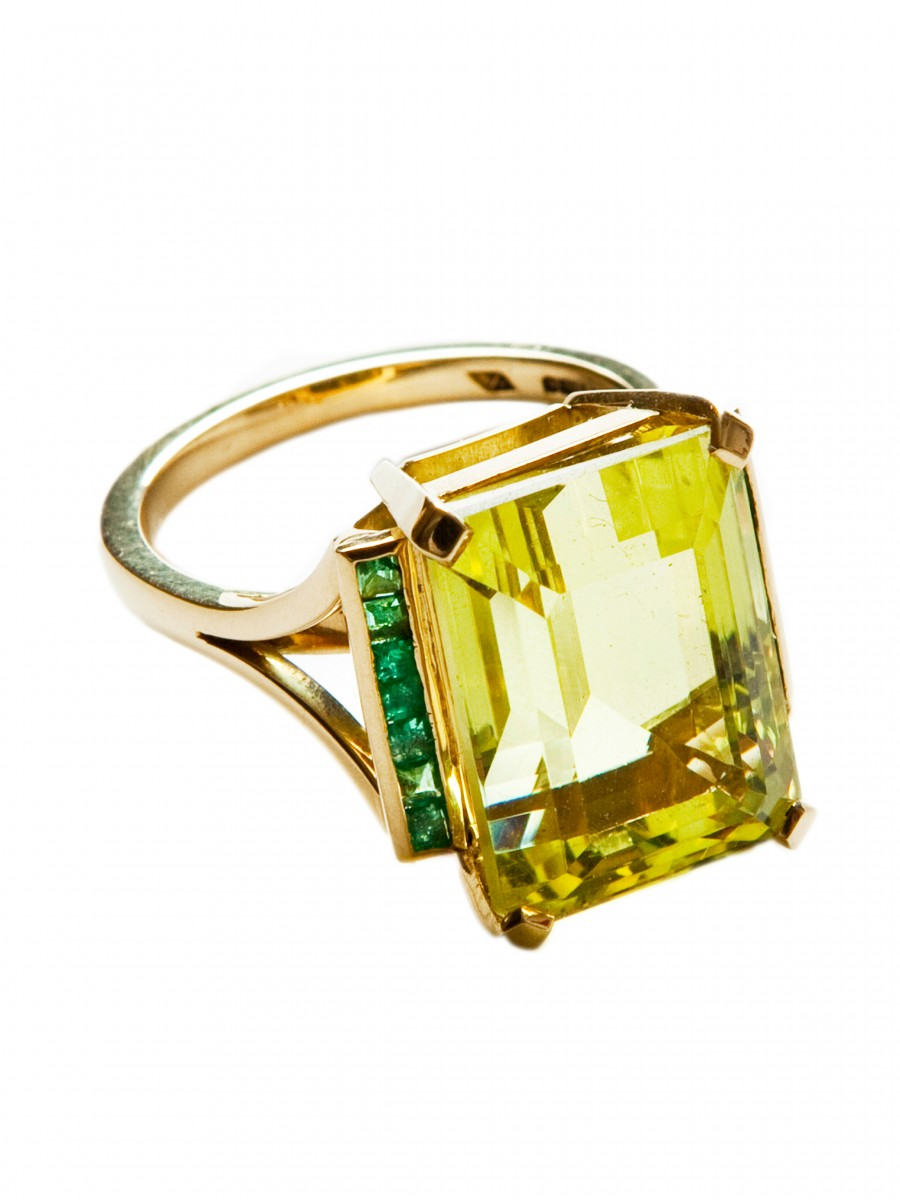 lemon citrine amp emerald cocktail ring rings fine jewellery