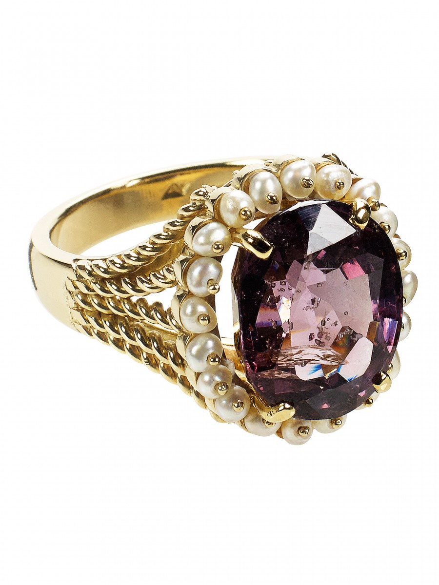 Spinel & Pearl Cocktail Ring