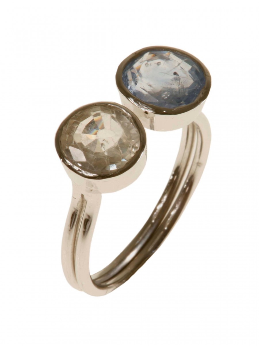 2 Sapphires Moon Ring