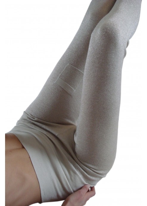 Long Leggings with Lurex in Silk/Cashmere