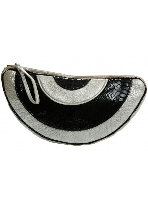 Leather Half Moon Clutch