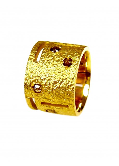 Textured Gold & Diamond Abstract Ring