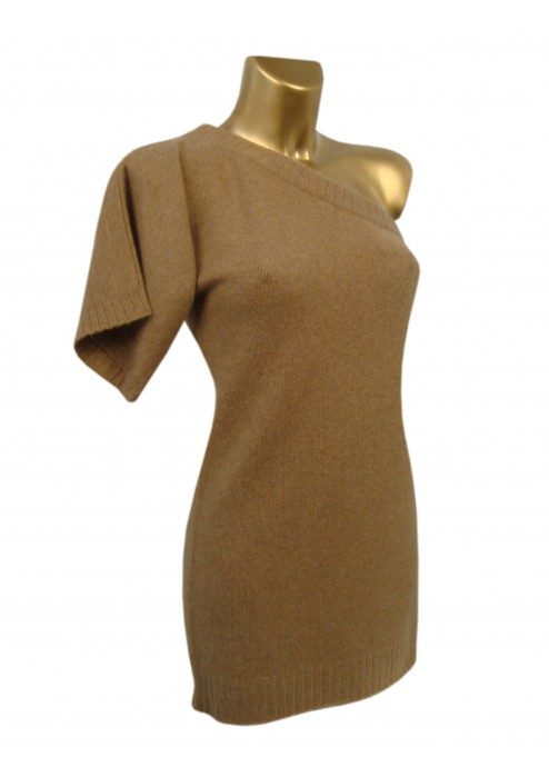 4 Ply Cashmere Zipped Off The Shoulder Jumper